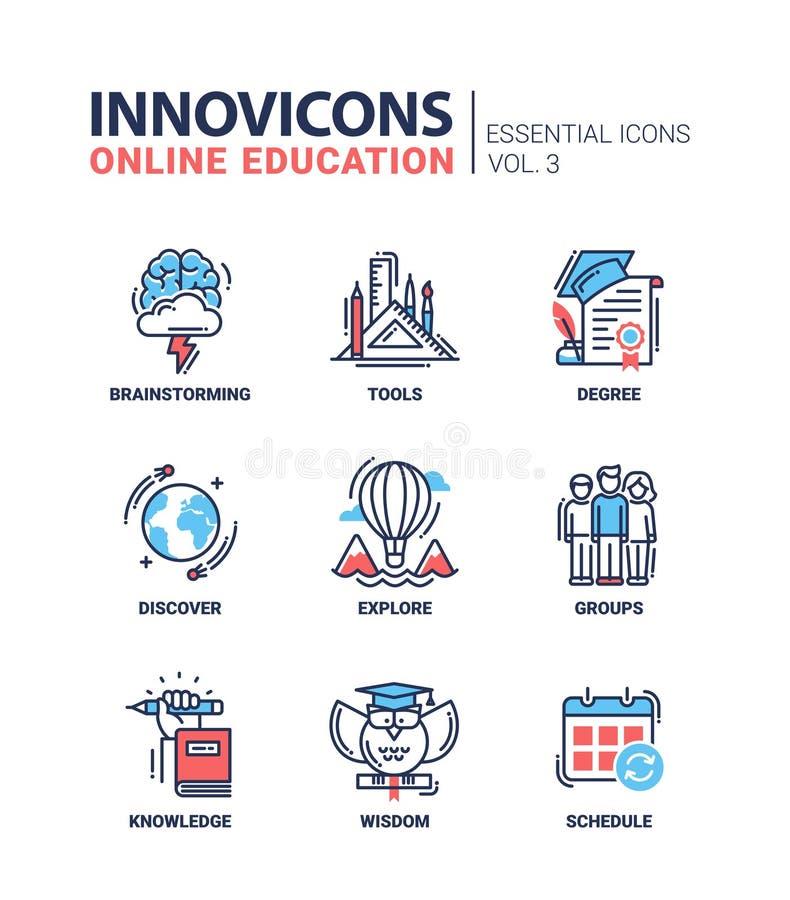 Iconos en línea de la educación fijados ilustración del vector