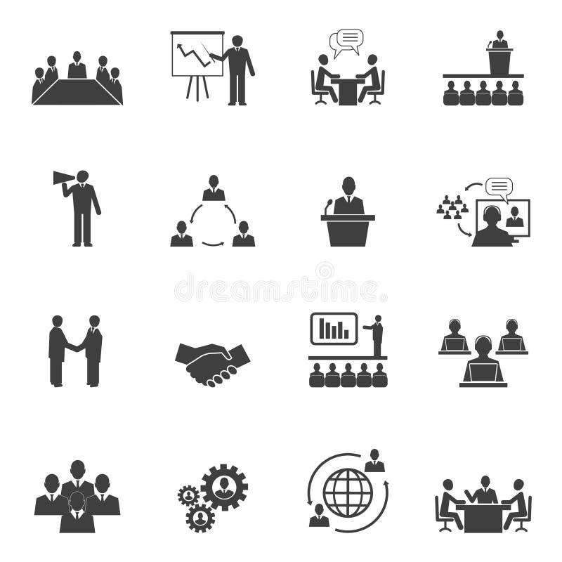 Iconos en línea de la gente de la reunión ilustración del vector