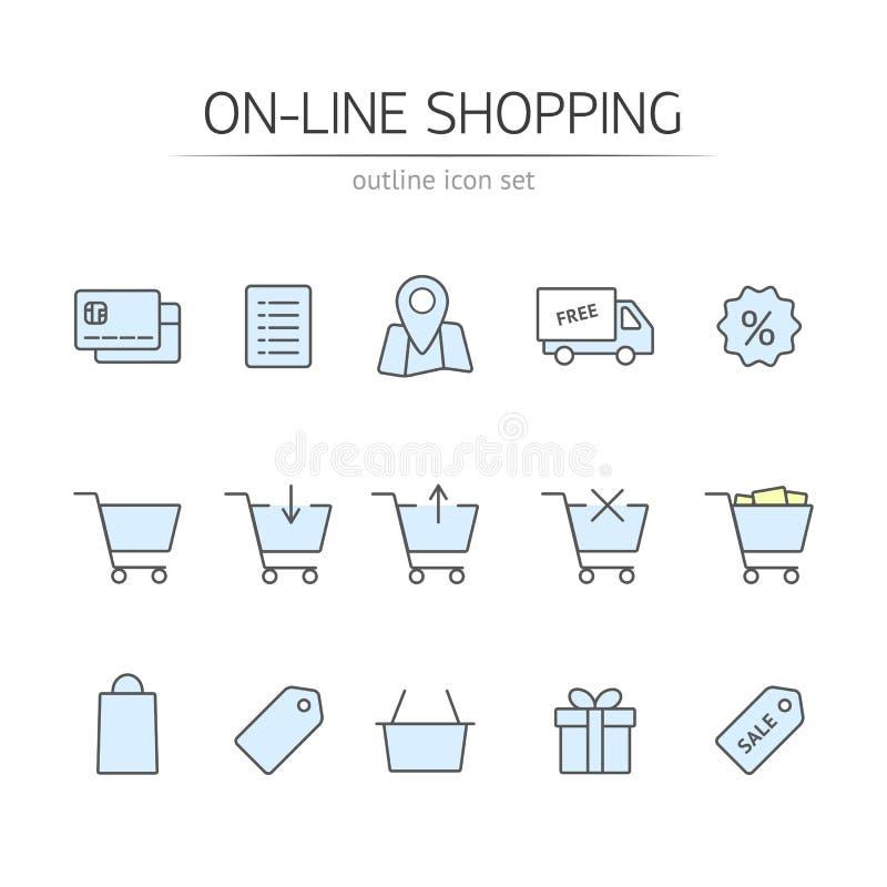 Iconos en línea de las compras fijados stock de ilustración