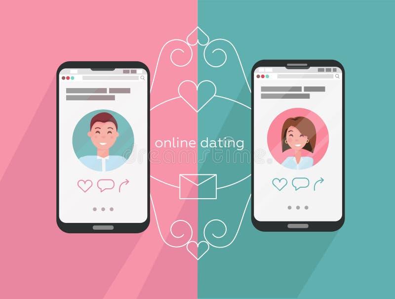 Iconos en línea del app del hombre que fechan y de la mujer en la pantalla del teléfono Conexión a internet entre los pares y sus stock de ilustración