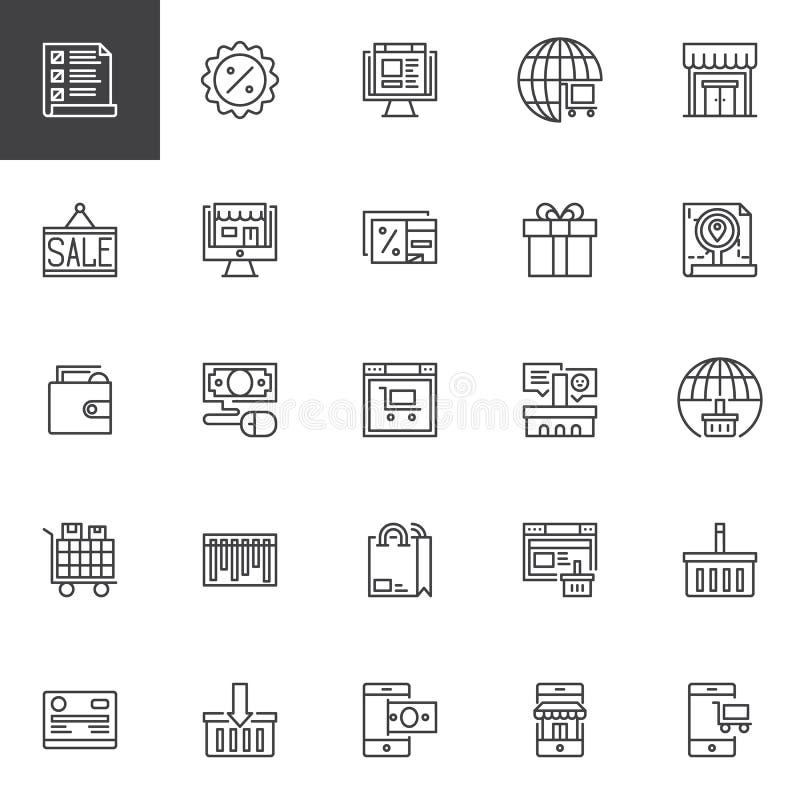 Iconos en línea del esquema de las compras fijados libre illustration