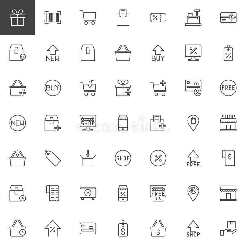 Iconos en línea del esquema de las compras fijados stock de ilustración
