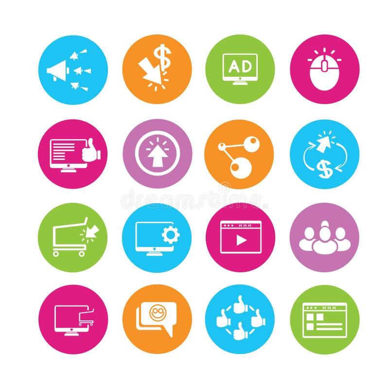 Iconos en línea del márketing stock de ilustración