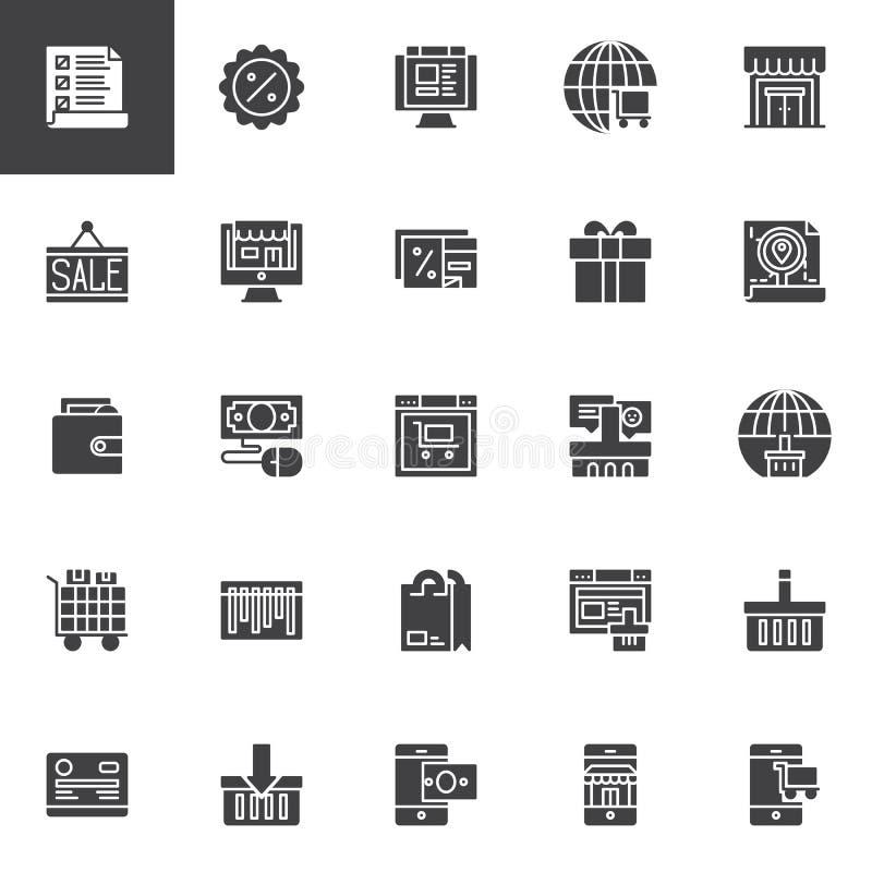 Iconos en línea del vector de las compras fijados ilustración del vector