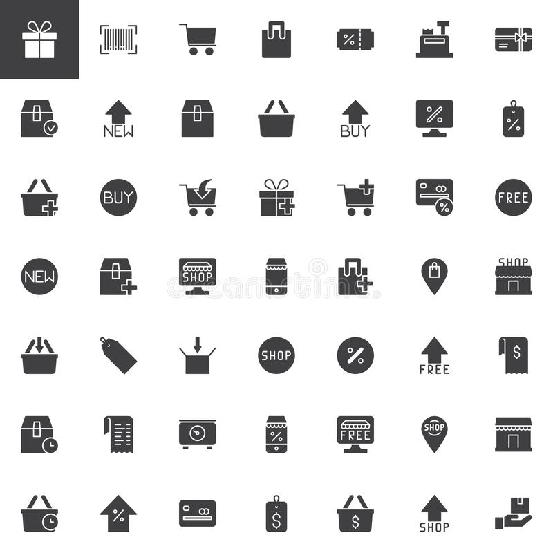 Iconos en línea del vector de las compras fijados stock de ilustración