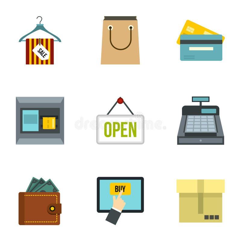 Iconos en línea fijados, estilo plano de la compra stock de ilustración