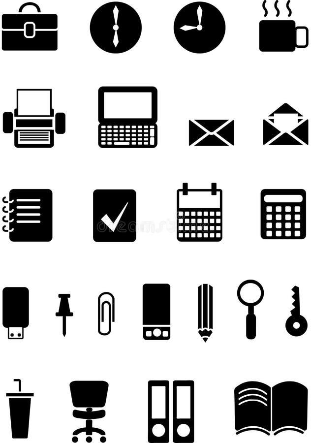 Iconos en la oficina del tema, blanco y negro, con el relleno, ejemplo del vector fotos de archivo libres de regalías