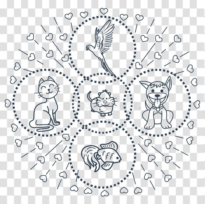 Iconos en la tienda de animales del estilo linear stock de ilustración