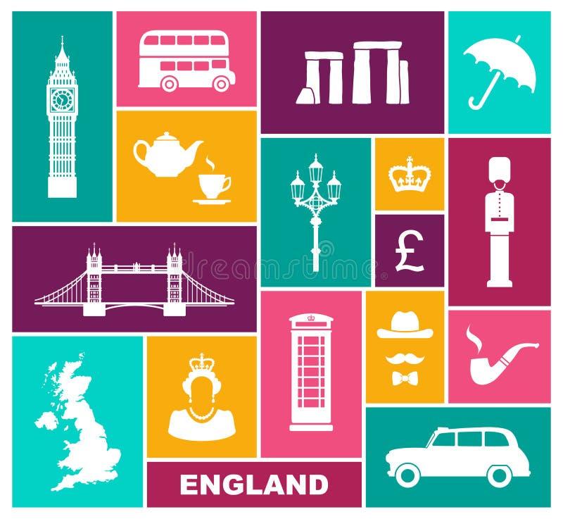 Iconos en un tema de Inglaterra Símbolos planos libre illustration