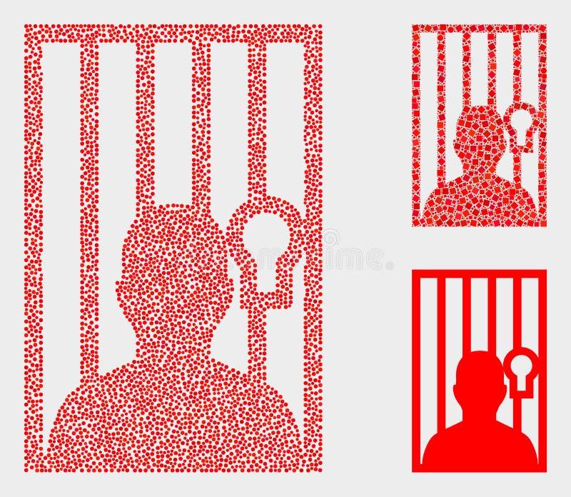 Iconos encarcelados vector de la persona de Pixelated ilustración del vector