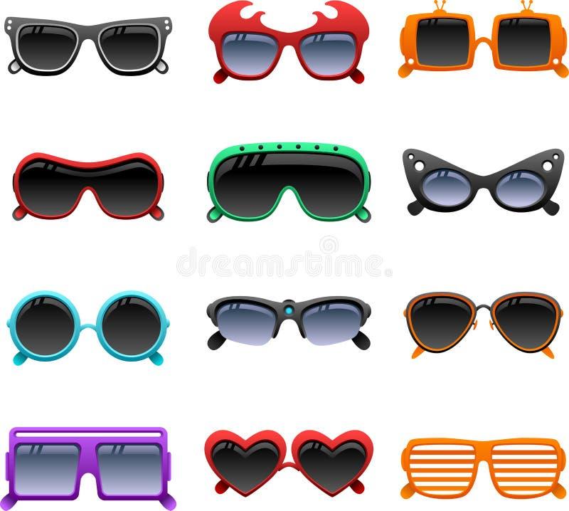 Iconos enrrollados de las gafas de sol ilustración del vector