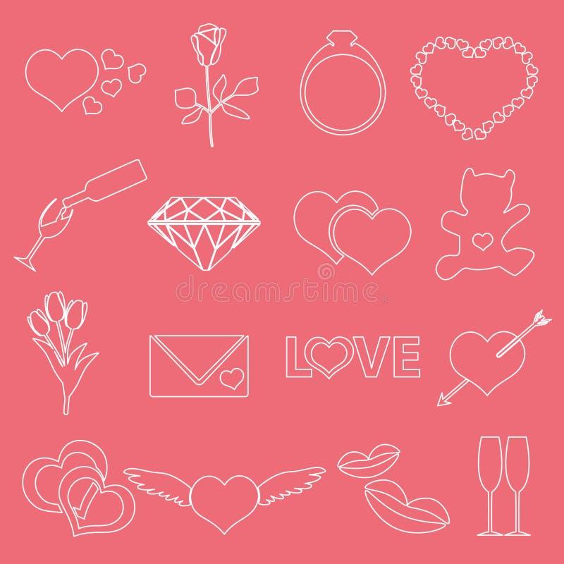 Iconos eps10 del esquema del día y del amor de la tarjeta del día de San Valentín libre illustration