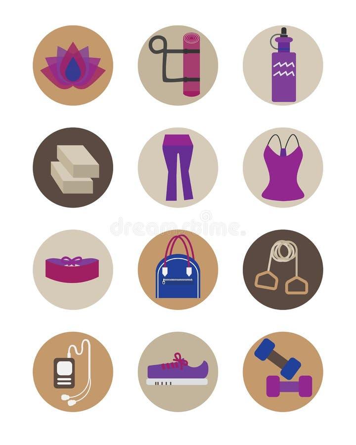 Iconos esenciales de los accesorios de la yoga plana de las mujeres fijados ilustración del vector