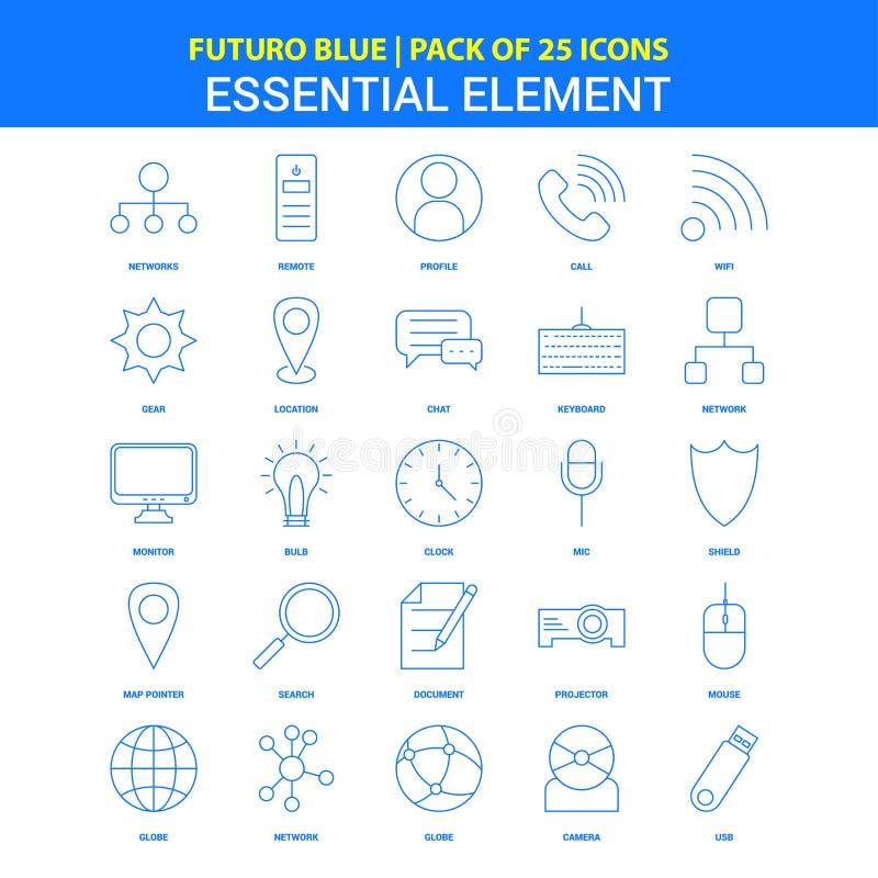 Iconos esenciales del elemento - paquete azul de 25 iconos de Futuro ilustración del vector