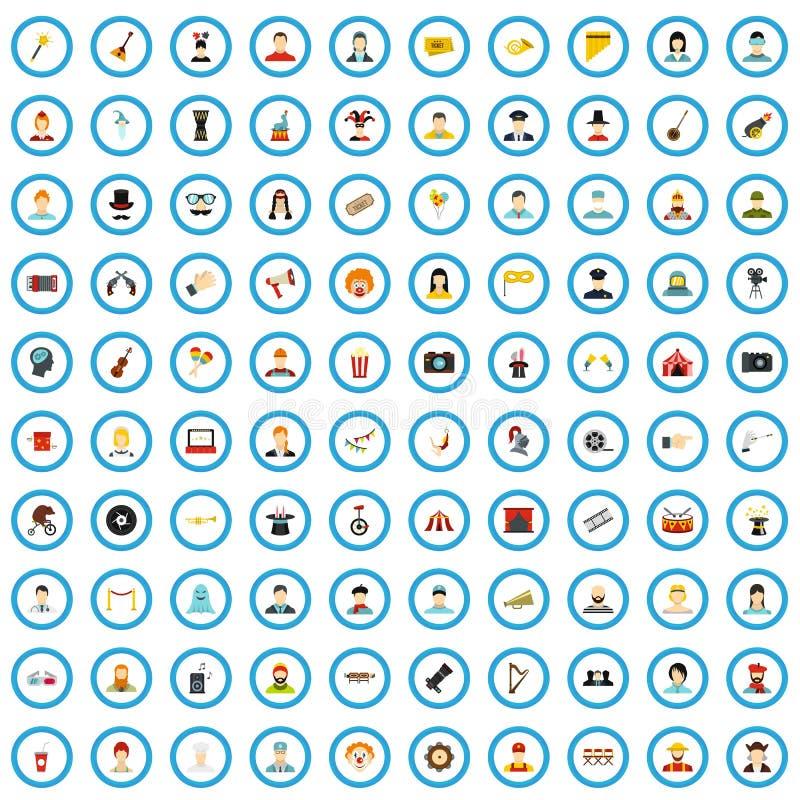 100 iconos espectadores fijados, estilo plano de la audiencia stock de ilustración