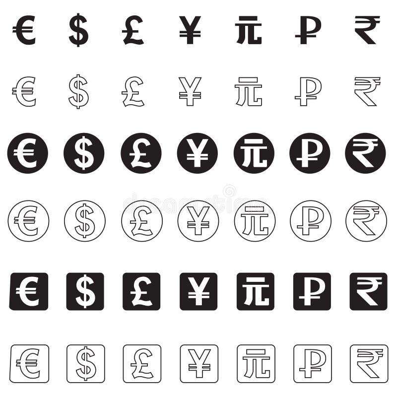 Iconos estilizados de diversas monedas ilustración del vector