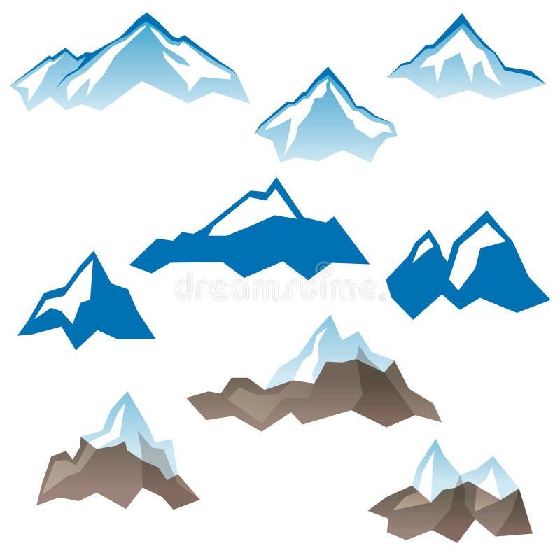 Iconos estilizados de las montañas ilustración del vector