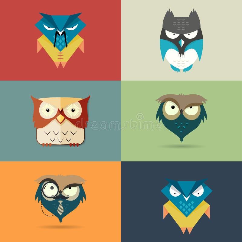 Iconos estilizados lindos determinados de la historieta de búhos libre illustration