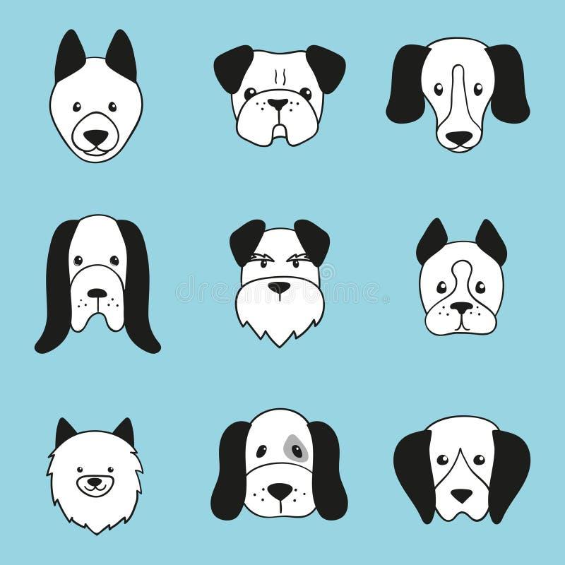 Iconos exhaustos de la cabeza de perro de la mano Fije de caras de los perros de la historieta ilustración del vector