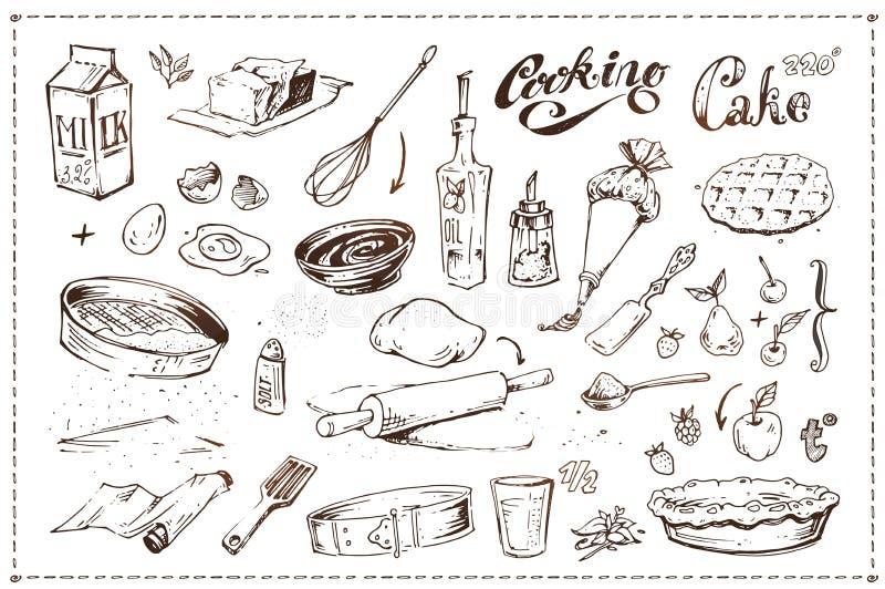 Iconos exhaustos del bosquejo de la tinta de la mano El cocinar de la torta ilustración del vector