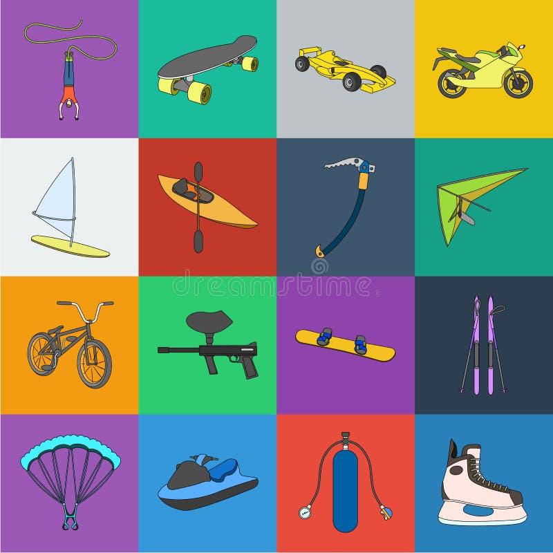 Iconos extremos de la historieta del deporte en la colección del sistema para el diseño Los diferentes tipos de deportes vector e stock de ilustración
