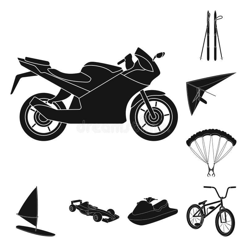 Iconos extremos del negro del deporte en la colección del sistema para el diseño Los diferentes tipos de deportes vector el ejemp libre illustration