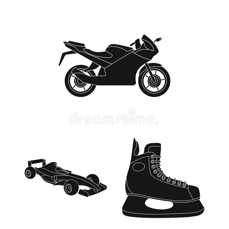 Iconos extremos del negro del deporte en la colección del sistema para el diseño Los diferentes tipos de deportes vector el ejemp ilustración del vector