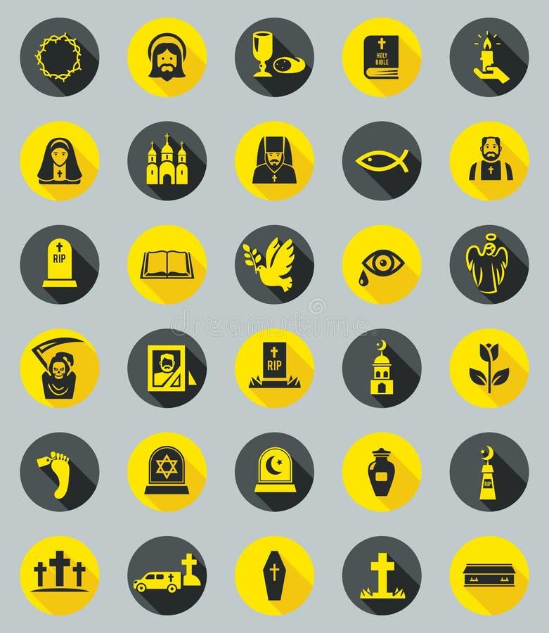 Iconos fúnebres, vector plano del diseño stock de ilustración