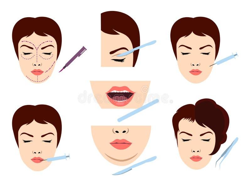 Iconos faciales de la cirugía cosmética stock de ilustración