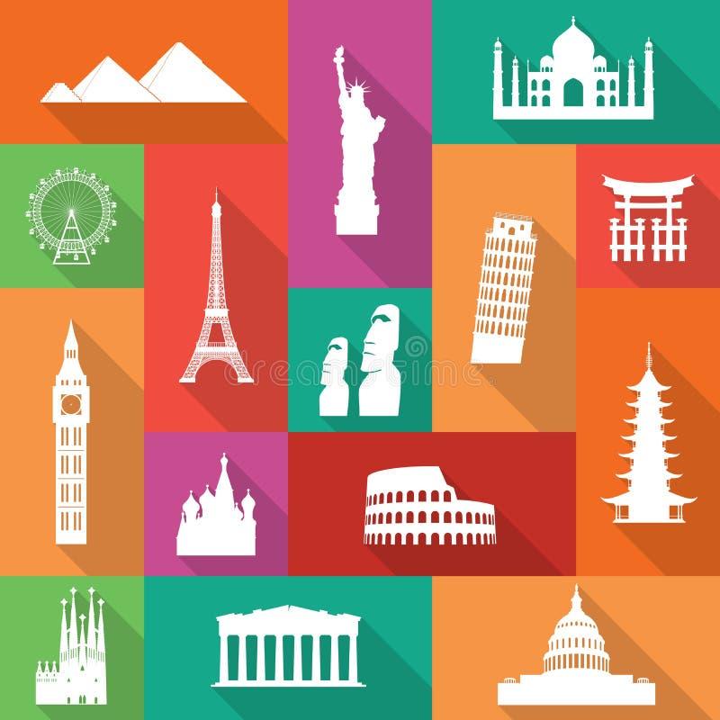 Iconos famosos de los monumentos ilustración del vector