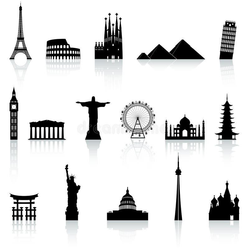 Iconos famosos del monumento del vector fijados libre illustration