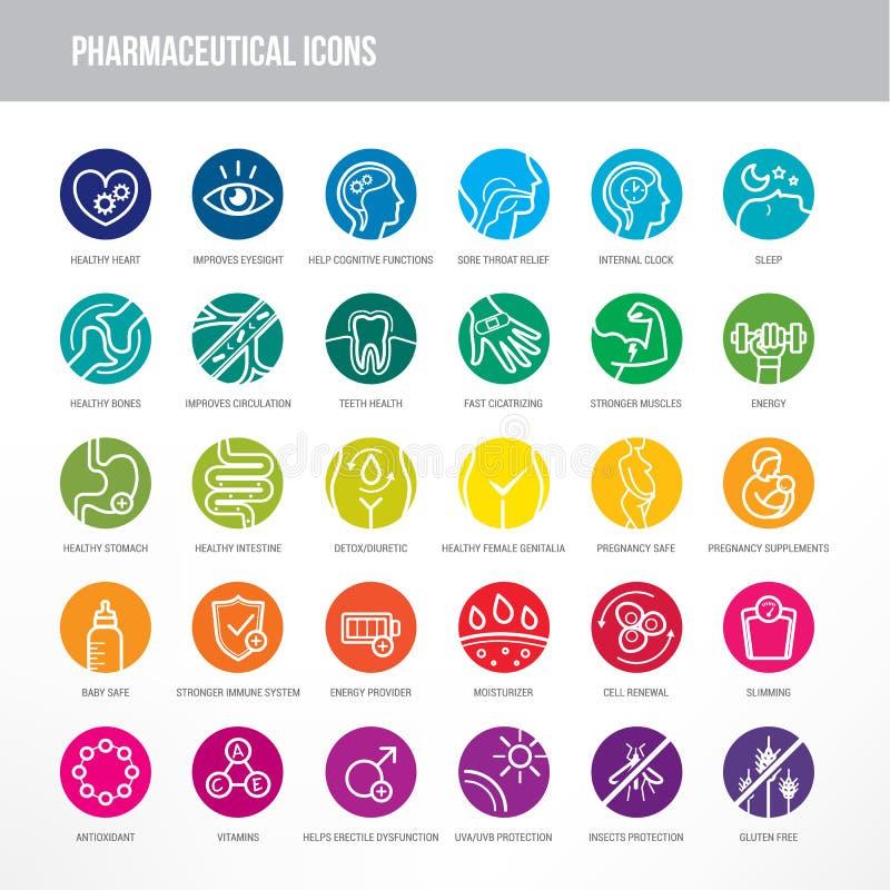 Iconos farmacéuticos y médicos fijados ilustración del vector
