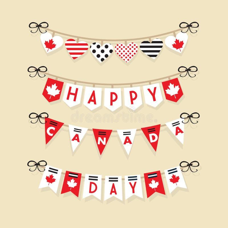 Iconos felices de la decoración de los empavesados de la ejecución del día de Canadá fijados ilustración del vector