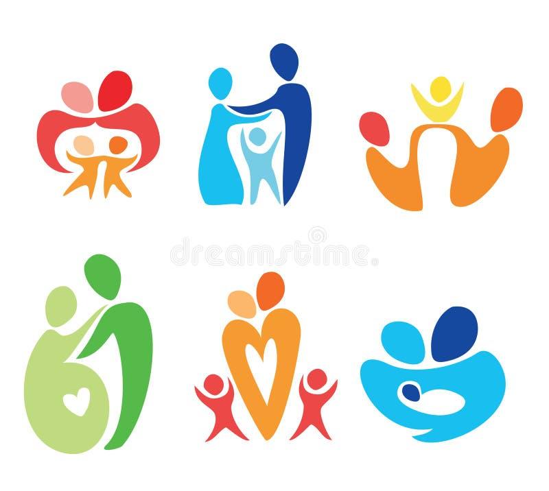 Iconos felices de la familia fijados libre illustration