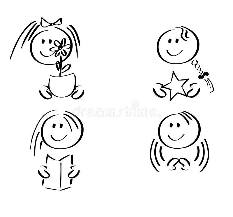 Iconos felices de las muchachas stock de ilustración