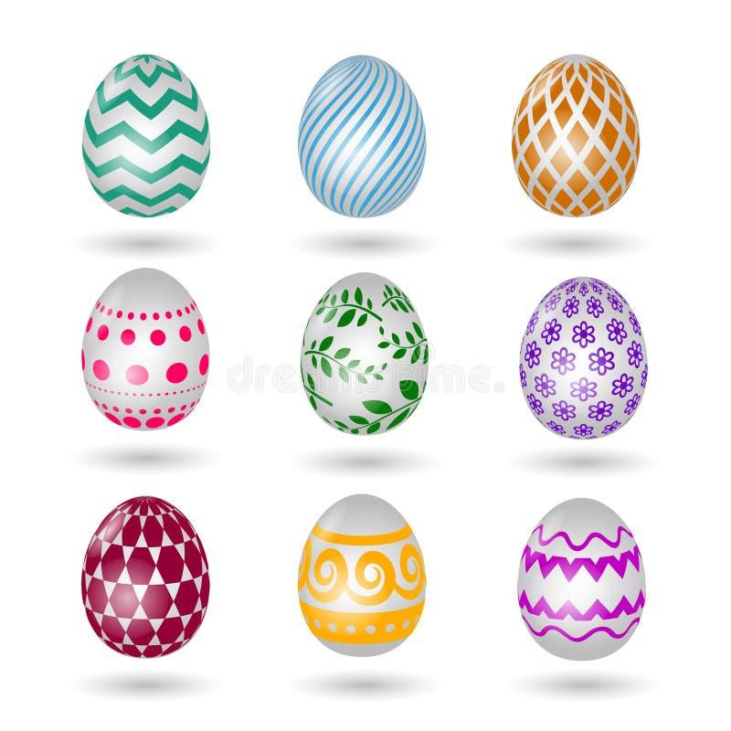 Iconos felices de los huevos de Pascua Sistema pascual coloreado del huevo del vector con el modelo de la decoración aislado en e stock de ilustración