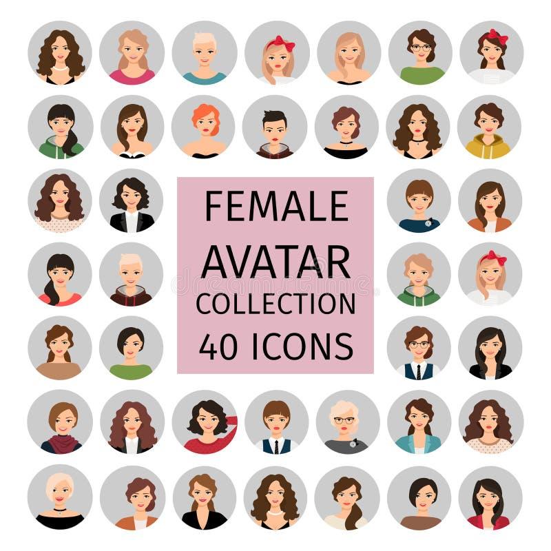 Iconos femeninos de la colección del avatar fijados libre illustration