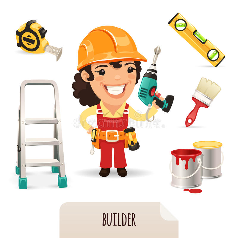 Iconos femeninos de los constructores fijados stock de ilustración