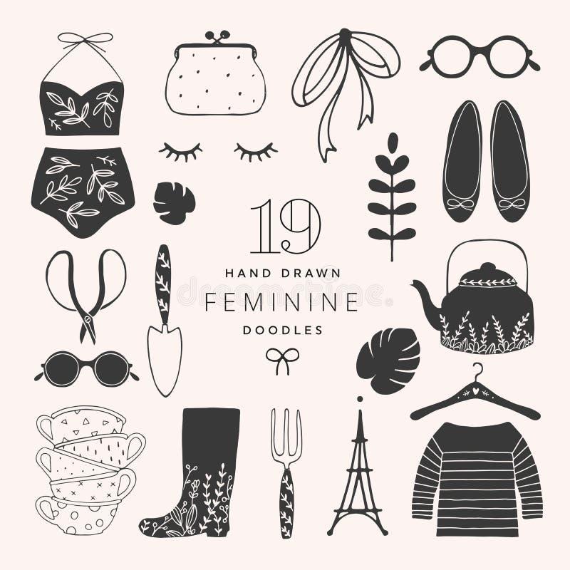 Iconos femeninos dibujados mano de la moda imagen de archivo libre de regalías