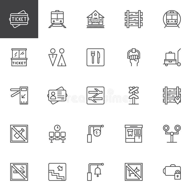 Iconos ferroviarios del esquema fijados libre illustration