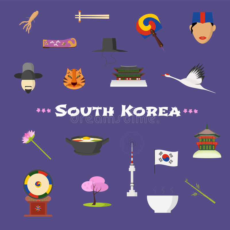 Iconos fijados, cliparts del vector de la Corea del Sur de la visita stock de ilustración