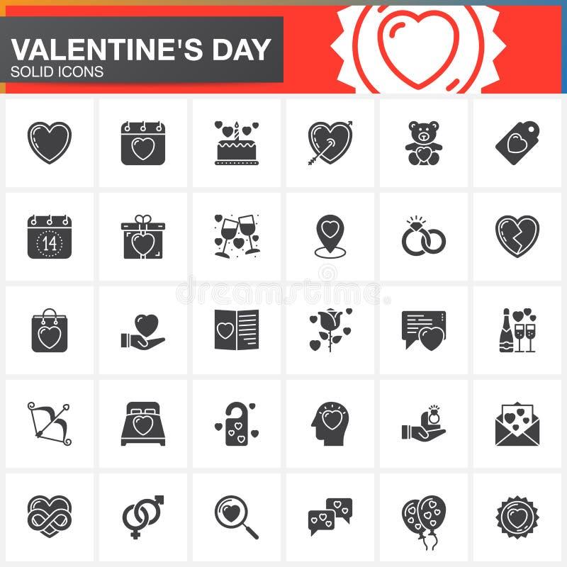 Iconos fijados, colección sólida moderna del símbolo, paquete llenado del vector del día del ` s de la tarjeta del día de San Val ilustración del vector