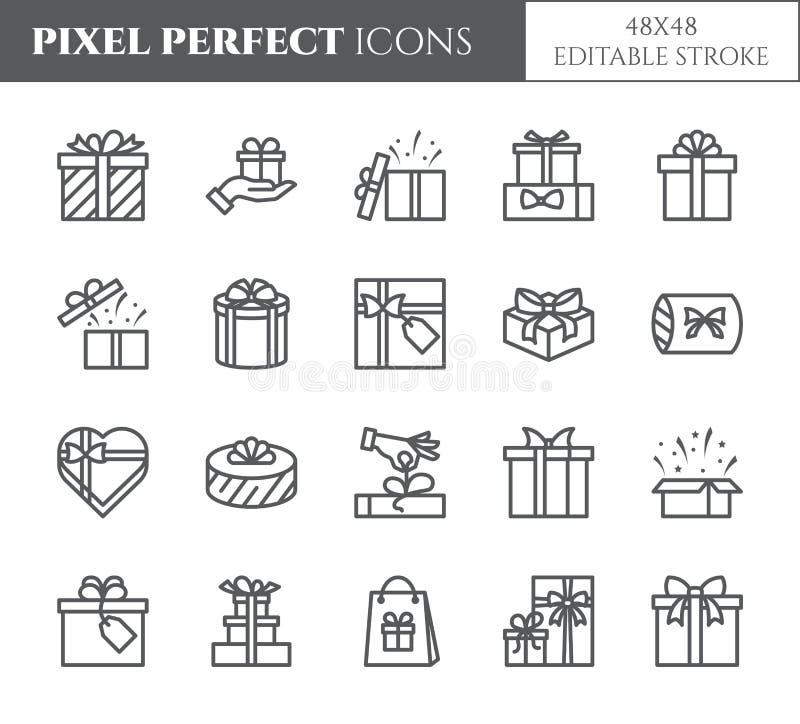 Iconos fijados con el movimiento editable - elementos transparentes de las cajas de regalo del esquema negro de presentes envuelt ilustración del vector
