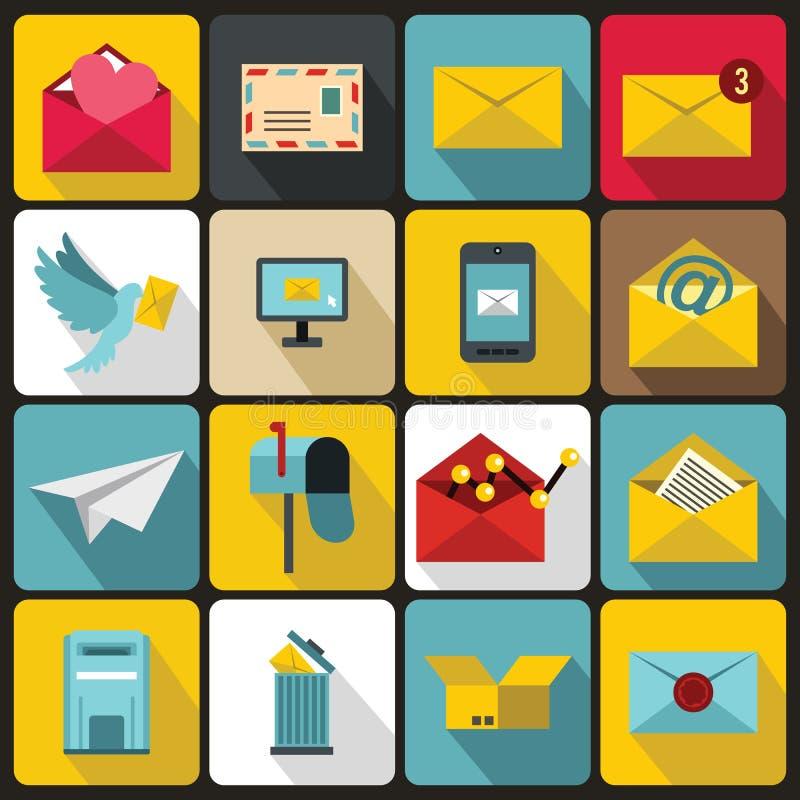 Iconos fijados, ctyle plano del correo electrónico ilustración del vector