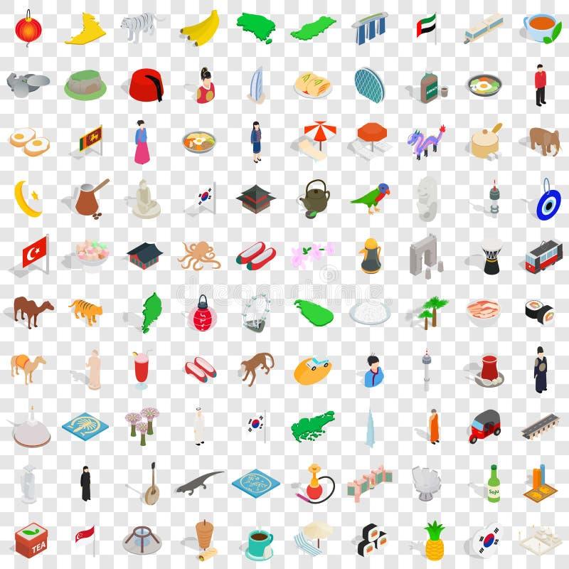 100 iconos fijados, de Asia estilo isométrico 3d ilustración del vector