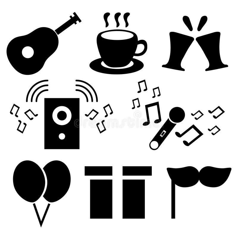 Iconos fijados de elementos de la fiesta de cumpleaños Ejemplo para su diseño, juego, tarjeta del vector ilustración del vector
