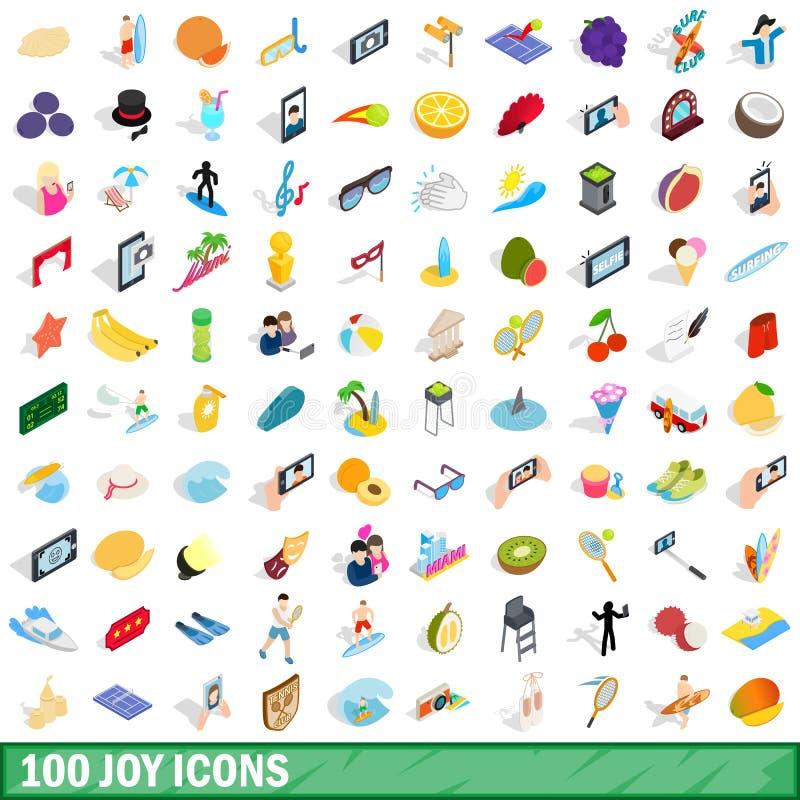 100 iconos fijados, de la alegría estilo isométrico 3d libre illustration
