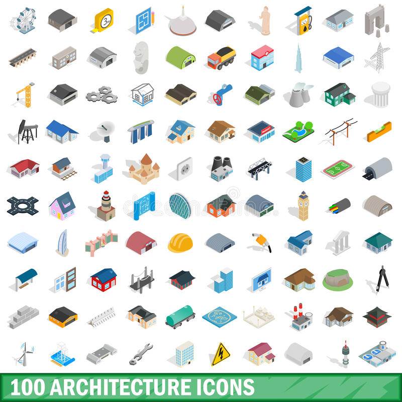 100 iconos fijados, de la arquitectura estilo isométrico 3d stock de ilustración
