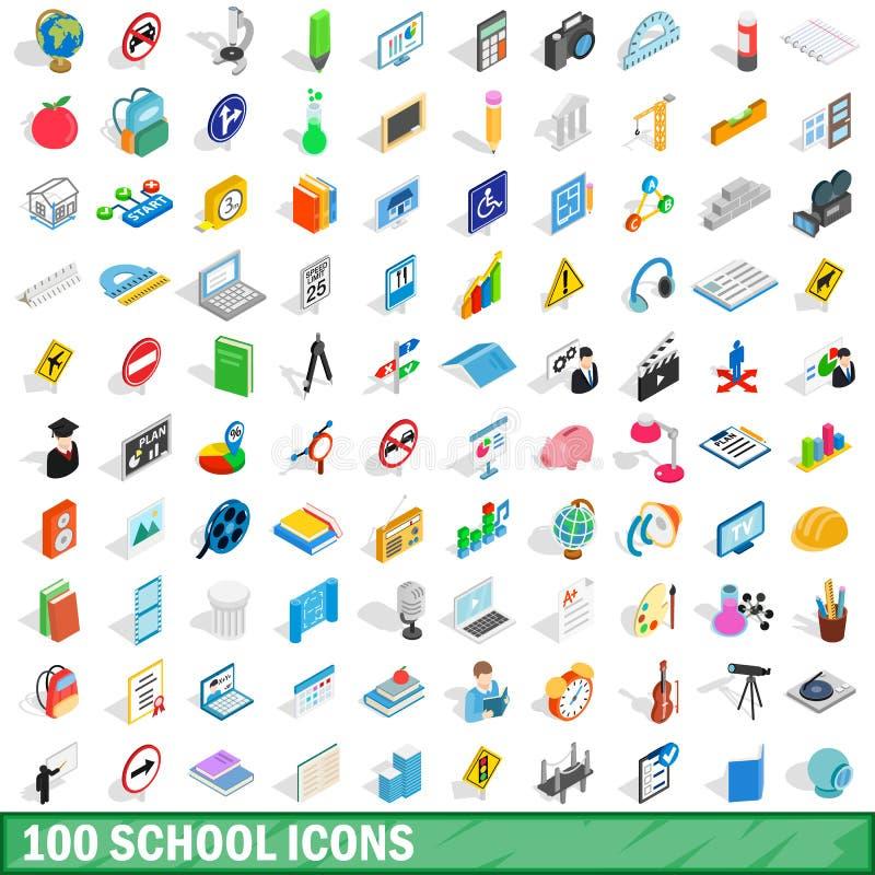 100 iconos fijados, de la escuela estilo isométrico 3d ilustración del vector