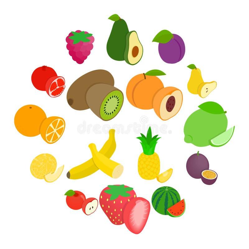 Iconos fijados, de la fruta estilo isométrico 3d imagen de archivo